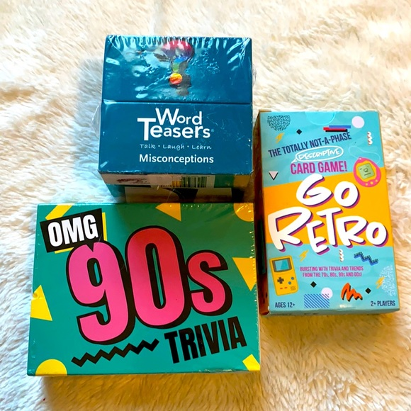3 New card games Go Retro 90's Trivia Word Teasers